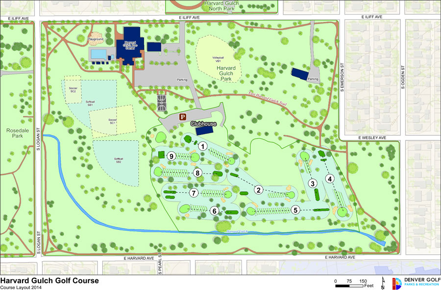 Harvard Gulch Golf Course layout map