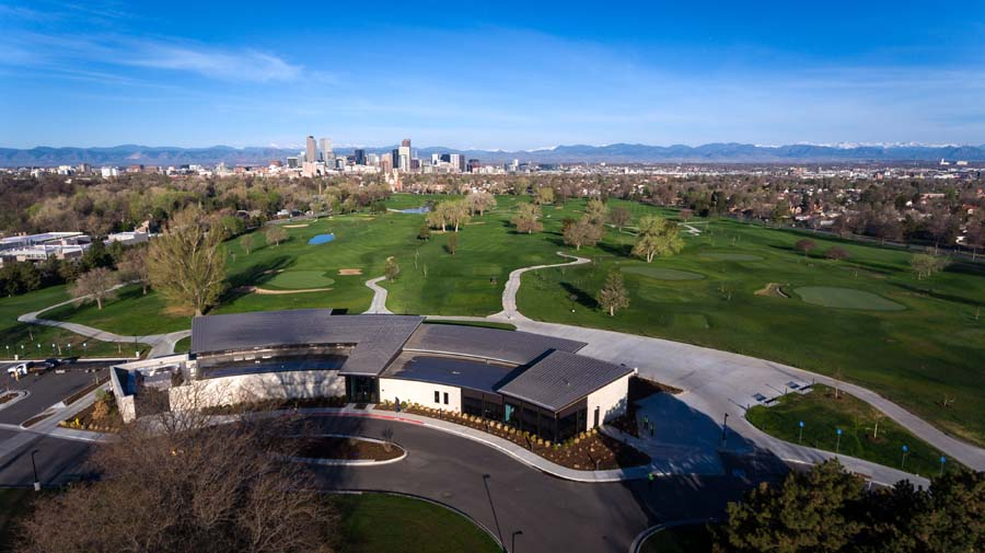 Aerial view of City Park Golf Course looking West