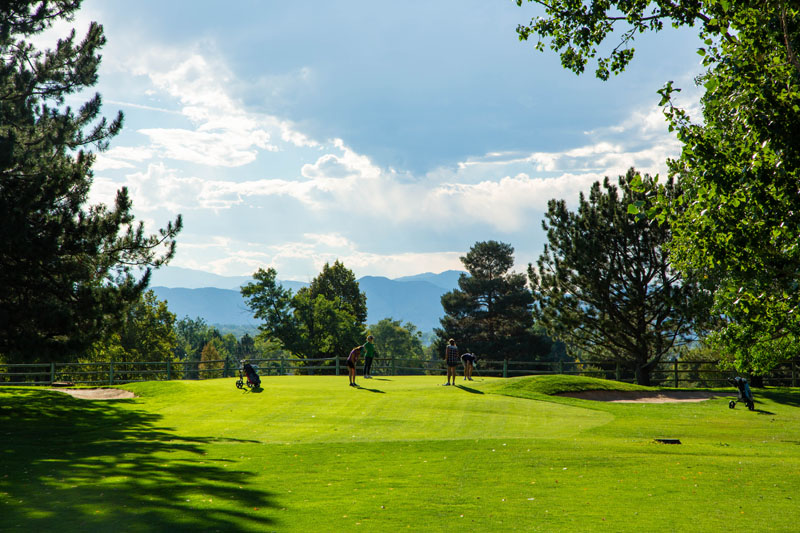 Hole #8's view of green with mountain views
