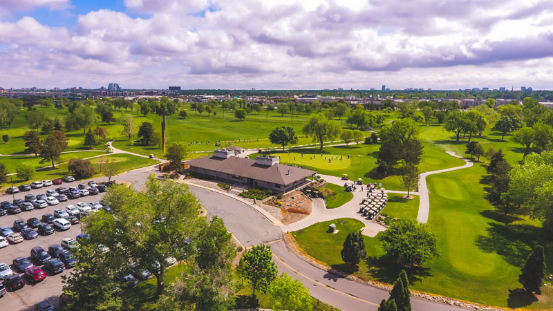 An aerial view of the Overland Park clubhouse