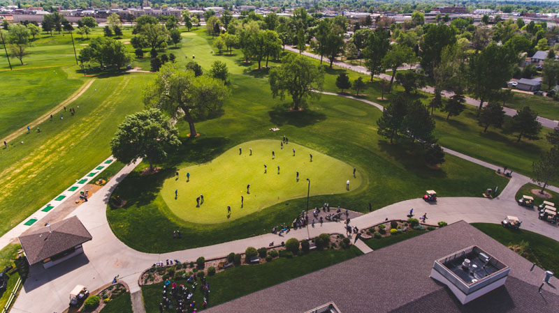 An overhead view of the putting green at Overland Park